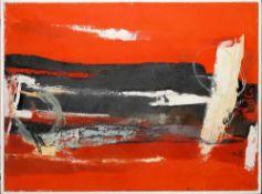 Josef Steiner, Informel rot/schwarz, Ölgemälde, gerahmt Josef Steiner, 1899 – 1977, Informelle