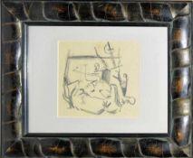 Josef Steiner, Abstrahierte Komposition mit Kamelreiter, Bleistiftzeichnung, im seltenen Lederrahmen