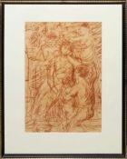"""Josef Steiner, """"Die Schmückung und Anbetung der Braut"""", Rötelzeichnung, im Atelierrahmen Josef"""