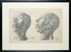 Josef Steiner, Zweifache Modellstudie eines negroiden Kopfes, Kohlezeichnung, 1914, im Holzrahmen