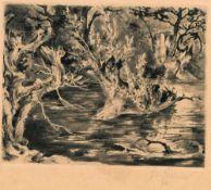 """Josef Steiner, Bäume und Landschaften, 5 Radierungen, einmal gerahmt Josef Steiner, 1899 – 1977, """""""