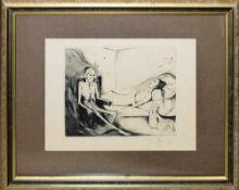 Josef Steiner, Der wartende Tod & Die Umarmung des Todes, 2 Radierungen, 1927, gerahmt Josef
