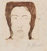 "Josef Steiner, ""Frühling"" u. ""Jugendstil-Portrait"", 2 Radierungen, 1917 u. um 1915, o. Rahmen"