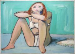 Josef Steiner, Sitzendes Mädchen im Bikini, Ölgemälde, gerahmt Josef Steiner, 1899 – 1977, Mädchen
