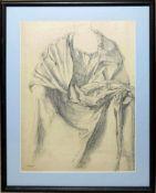 Josef Steiner, Stehende Dame mit wallendem Gewand u. Große Gewandstudie, 2 Kohlezeichnungen, 1917, 1