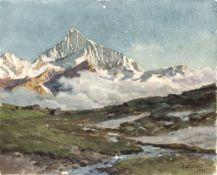 Compton, Edward HarrisonSchnebedeckte Gebirgslandschaft. Aquarell. 24 x 29, cm. Berieben. Sign.,