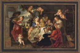 Rubens, Peter Paul, Umkreis1577 Siegen - 1640 Antwerpen. Der Liebesgarten. Öl/Holz. 74 x 117 cm.