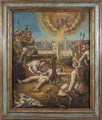 """Süddeutsch, 19. Jh.Martyrium des hl. Erasmus. Öl/Lw. 64 x 52 cm. Rest., unsign. Rücks. bez.: """""""