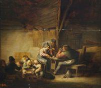 Victorijns, Anthonie, zugeschriebenBauern beim Kartenspiel. Öl/Holz. 32 x 37 cm. Besch., rest.,
