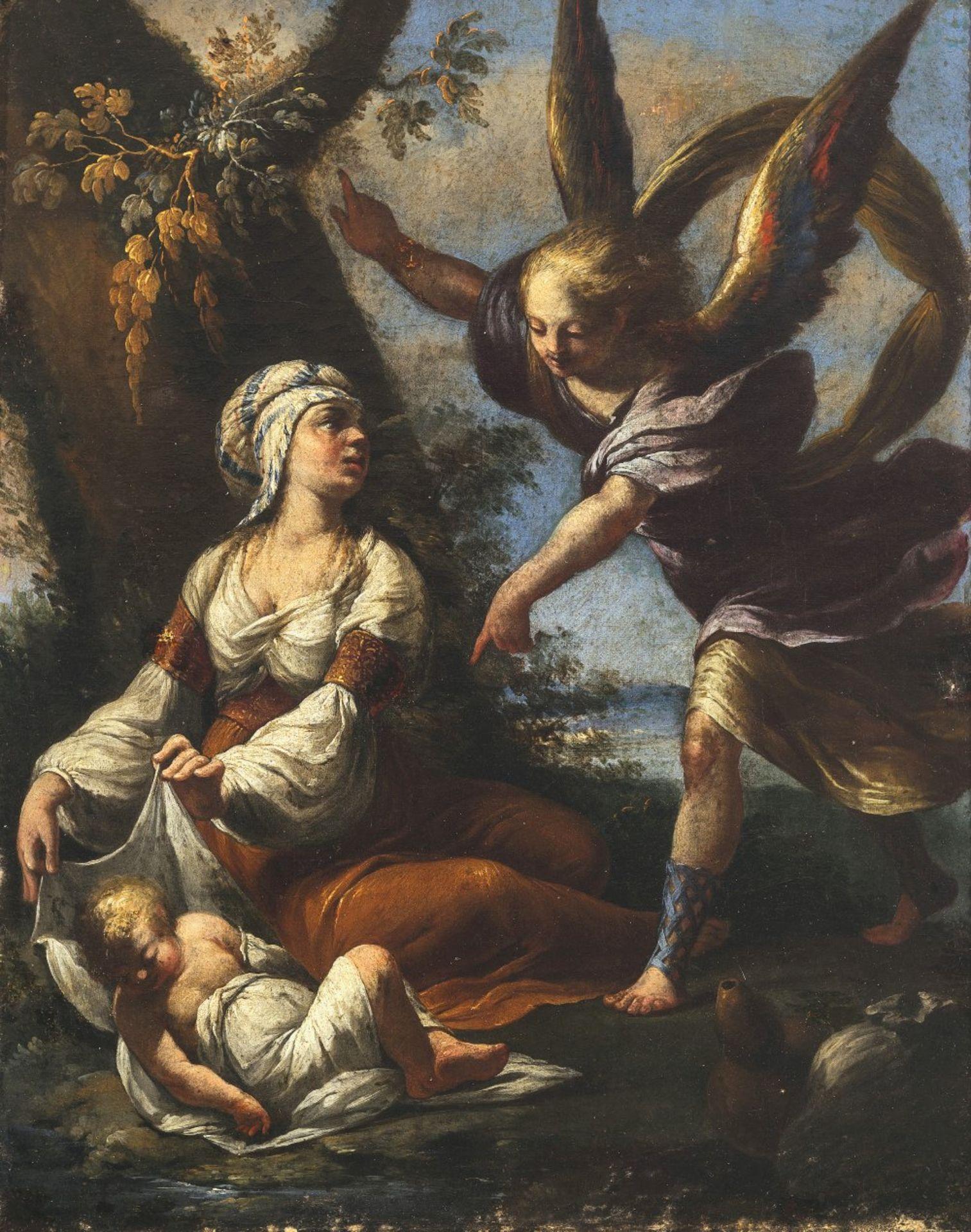 Deutsch, 18. Jh.Frau mit Kind und Engel. Öl/Lw. 43 x 31 cm. Doubl., rest. Unsign.German, 18th
