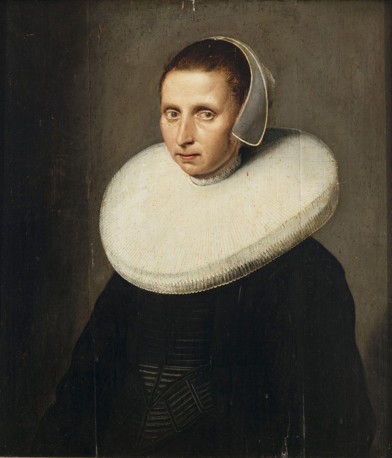 Cuyp, Jacob Gerritsz, UmkreisBrustporträt einer Dame mit Mühlsteinkragen und Haube. Öl/Holz. 69,5
