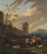 Begeyn, AbrahamHirten mit ihren Tieren vor alter Festung. Öl/Lw. 62 x 55 cm. Craquelé, rest., doubl.