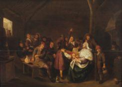 Molenaer, Jan MienseHeiterte Gesellschaft in der Schenke. Öl/Holz. 44,5 x 61 cm. Riss, rest. Unsign.