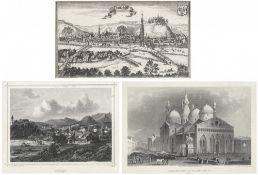 Kupferstich und zwei StahlsticheLandshut, Bad Aibling und der Dom von Padua. Verschiedene Maße.