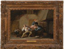 Victorijns, Anthonie, zugeschriebenZechende Bauern vor dem Kamin. Öl/Holz. 24 x 34 cm. Rest.
