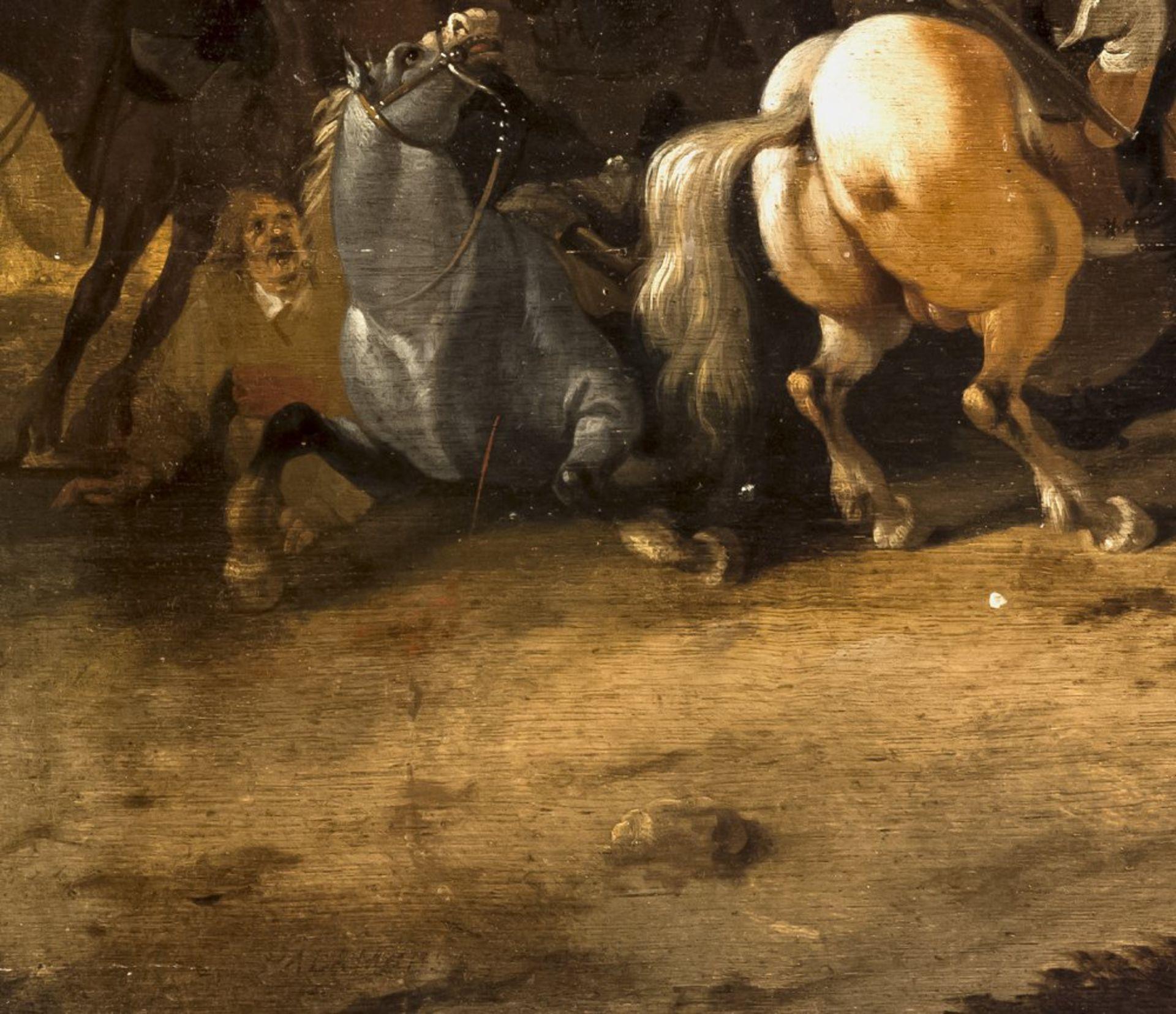 Palamedesz, PalamedesReitergefecht. Öl/Holz. 73 x 107 cm. Sign.Palamedesz, PalamedesEquestrian - Bild 3 aus 3