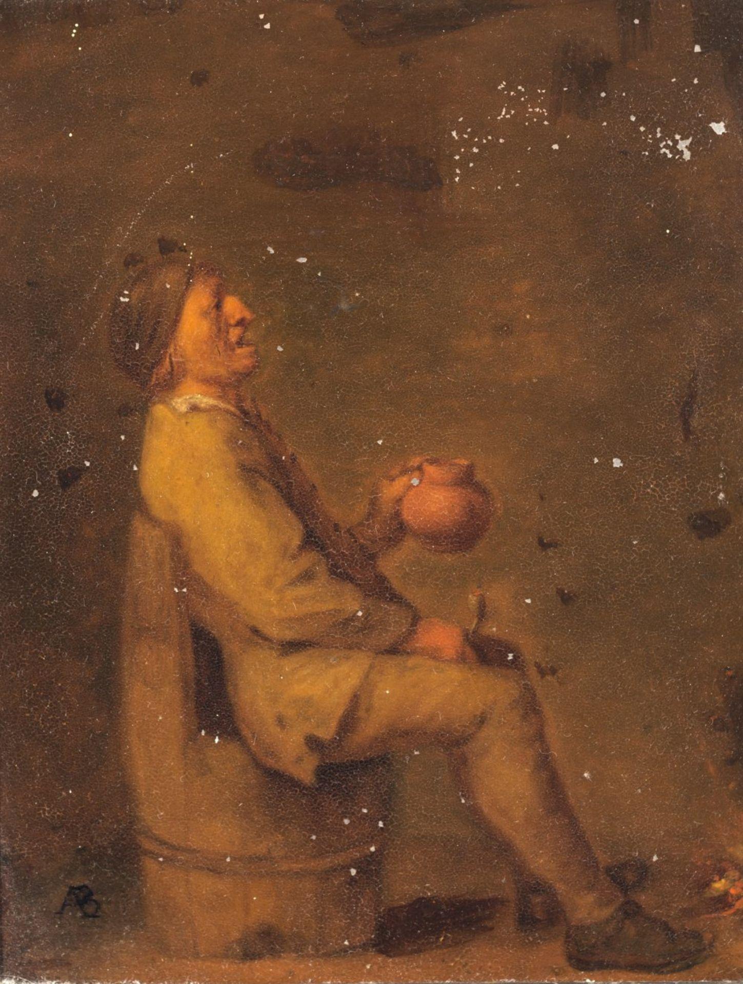 Monogrammist A. B.Niederlande, 17. Jh. Bauer mit Krug und Pfeife. Öl/Metall. 19 x 15 cm. Besch.