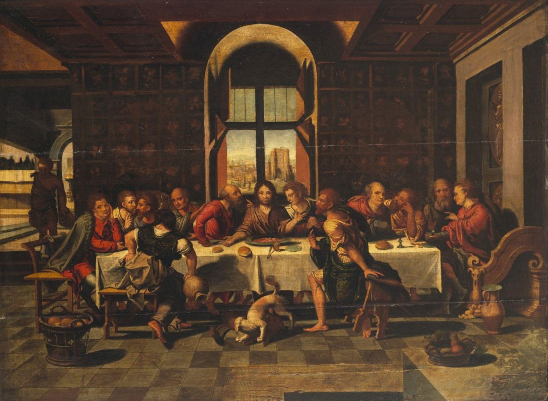 Coecke van Aelst, Pieter, NachfolgerDas letzte Abendmahl. Öl/Holz. 66 x 87 cm. Risse, rest. Unsign.