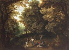 Coninxloo III, Gillis van, zugeschriebenÜberfall im Eichenwald. Öl/Holz. 59 x 78,5 cm. Rest.