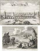"""Zwei Kupferstiche""""Prospect unter Abach, 2 Stund von Regensburg"""" und Ansicht von Regensburg von"""