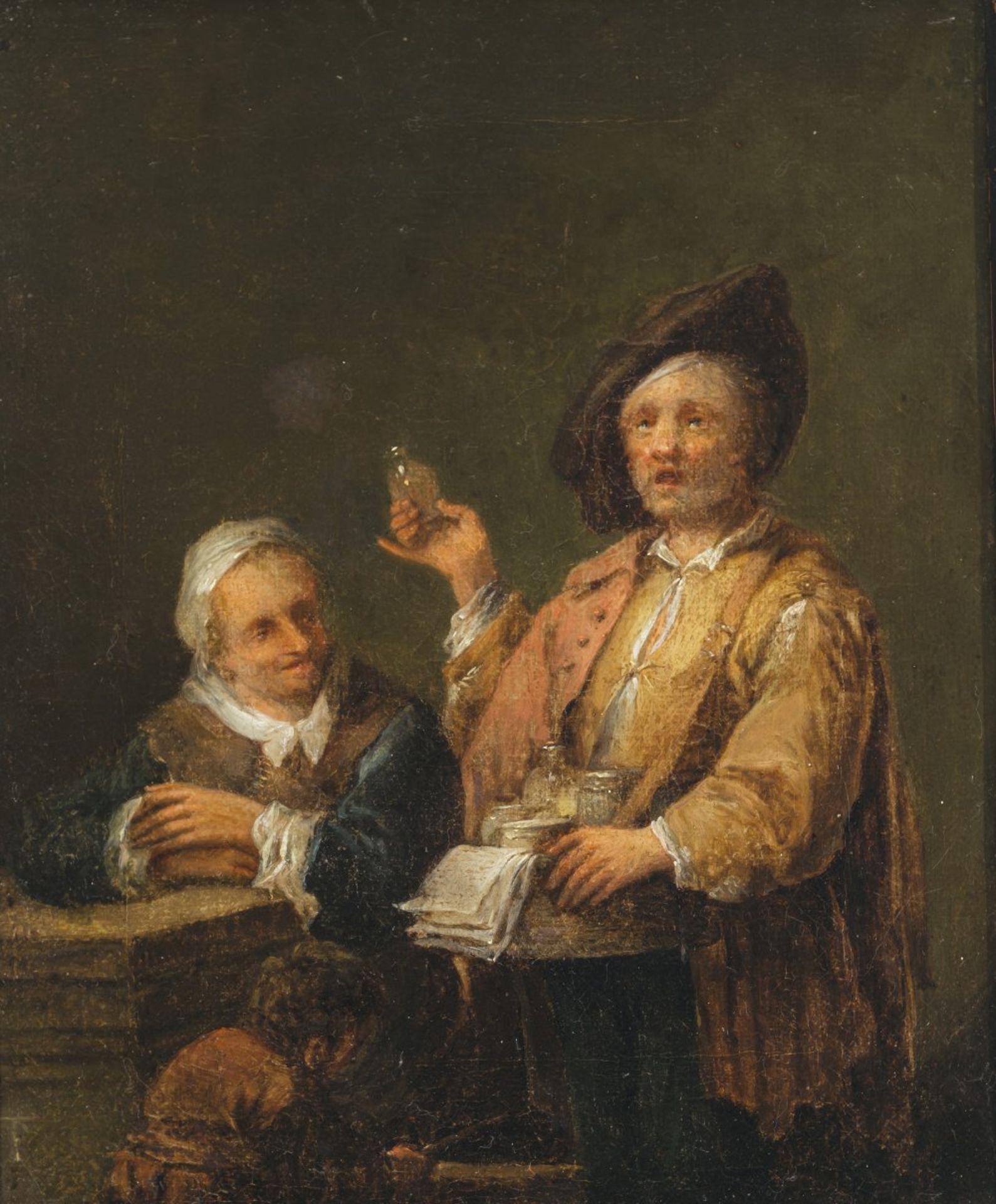 Monogrammist T.P.Niederlande, 17. Jh. Beim Quacksalber. Öl/Lw. 26 x 21,5 cm. Alterungsspuren, rest.,