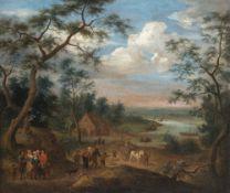 Steen, Jan, UmkreisFlusslandschaft mit Bauern und Kutsche. Öl/Lw. 64 x 75 cm. Rest., doubl. Unsign.