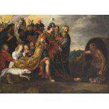 Niederlande, 17. Jh.Art des Frans Francken d. J. Alexander der Große mit Gefolge vor Diogenes. Öl/