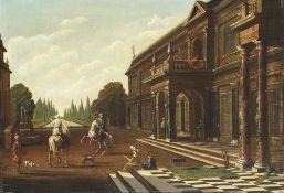 Sayes, Jakob FerdinandVilla am Kanal, auf dem Vorplatz zwei Reiter. Öl/Lw. 39 x 55,5 cm. Rest.,