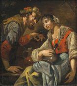 Toorenvliet, JacobJunges Paar beim heiteren Umtrunk. Öl/Holz. 25,5 x 22,5 cm. Rest., Signatur