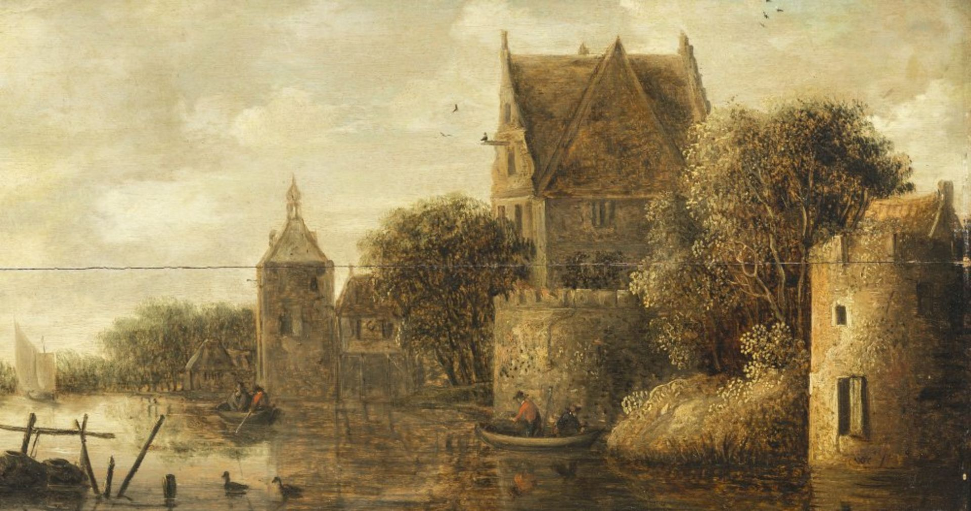 Knijff, Wouter, zugeschriebenOrtschaft am Fluß mit Ruder- und Segelbooten. Öl/Holz. 28 x 49 cm.