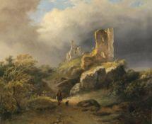 Dubourcq, Pierre Louis, zugeschriebenLandschaft mit Ruine, im Vordergrund Wanderer mit Hund. Öl/