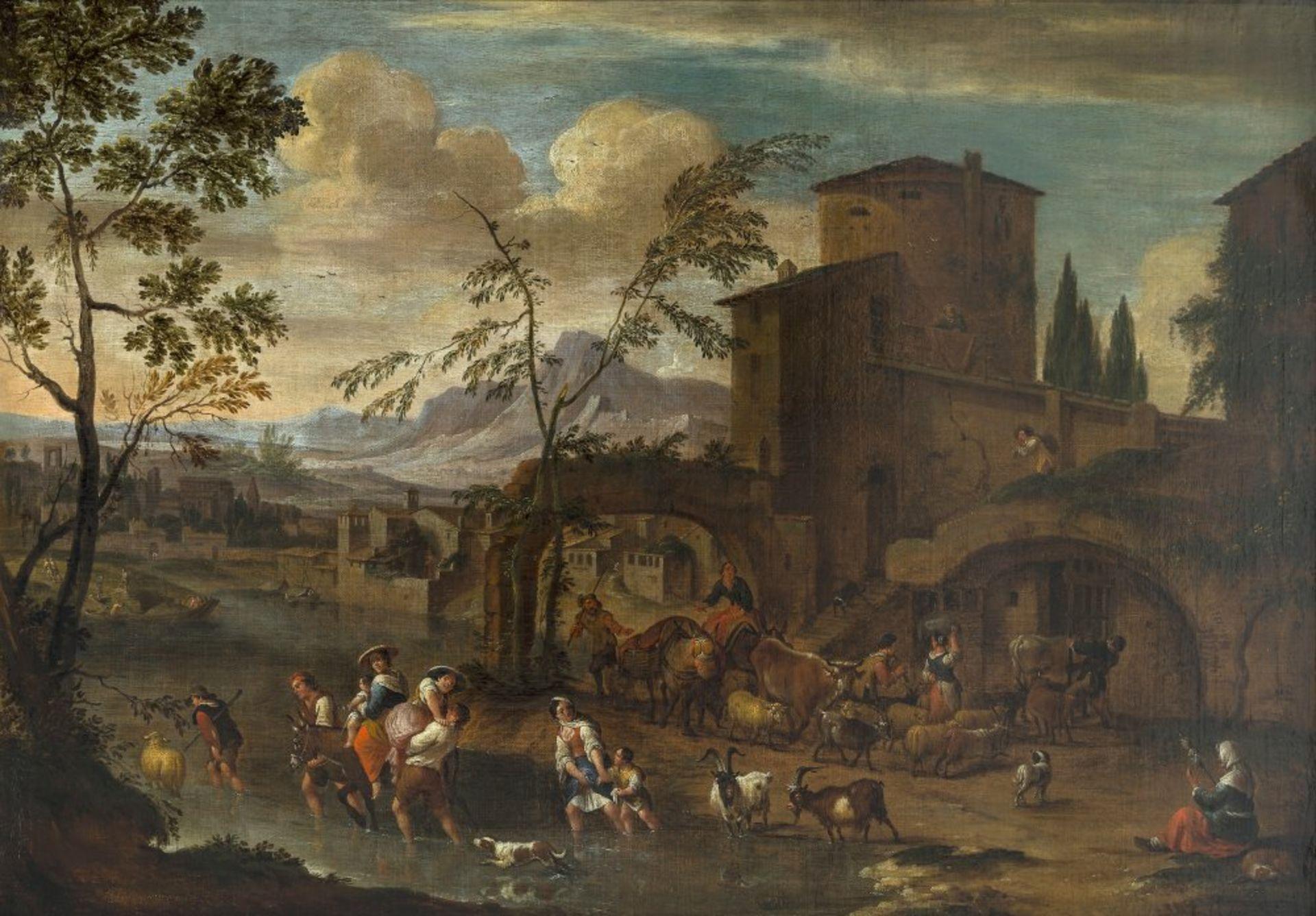 Bredael, Peeter vanSüdliche Ruinenlandschaft mit Hirten und Tieren, die einen Fluss überqueren. Öl/