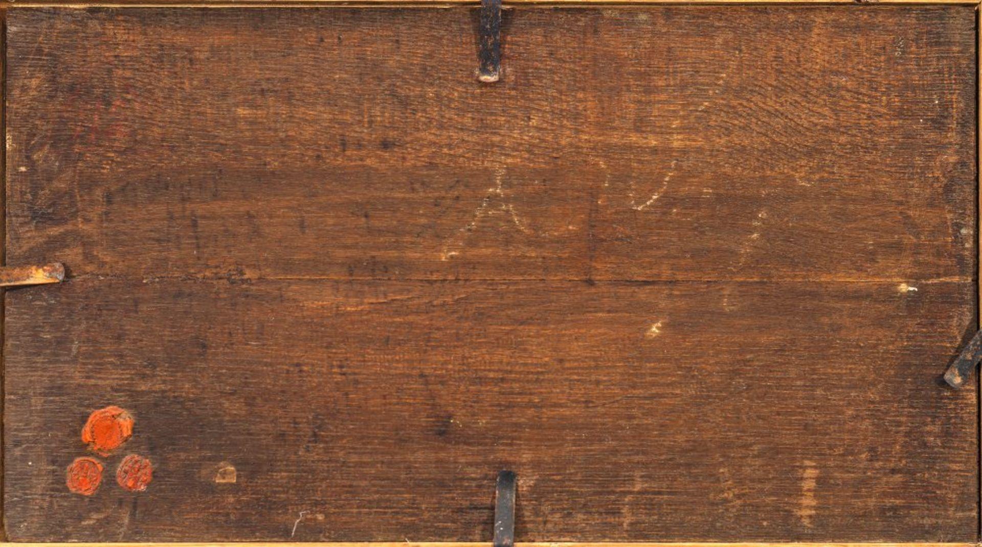 Knijff, Wouter, zugeschriebenOrtschaft am Fluß mit Ruder- und Segelbooten. Öl/Holz. 28 x 49 cm. - Bild 2 aus 3
