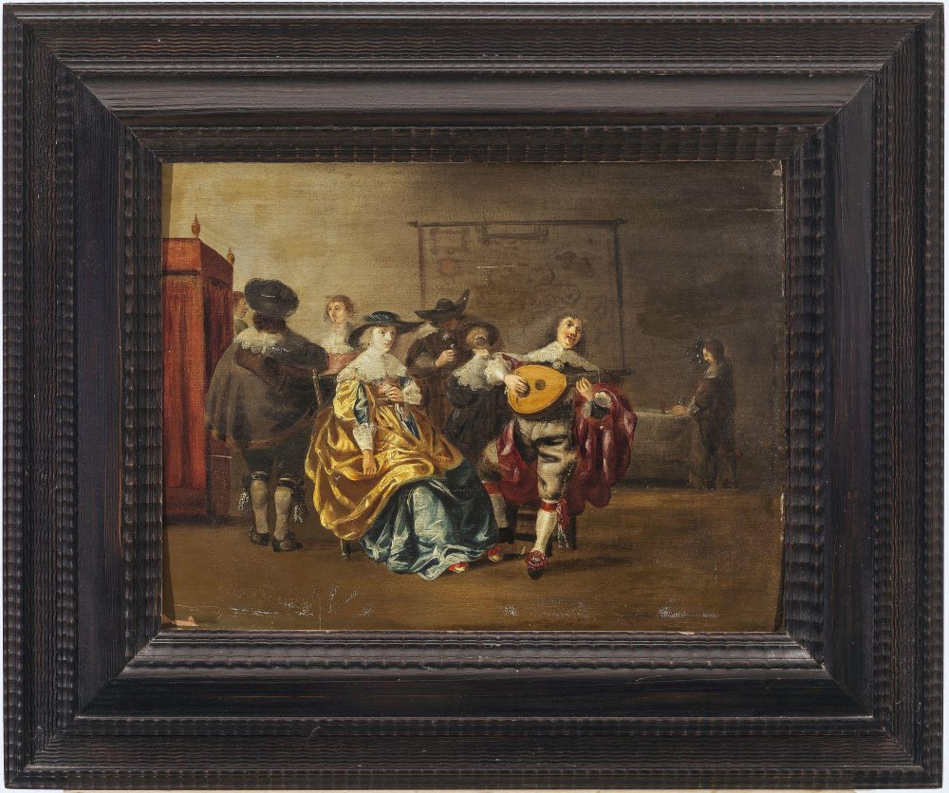 Niederlande, 17./18. Jh.Musizierende Adelsgesellschaft. Öl/Holz. 36,5 x 48 cm. Besch., Riss, rest.