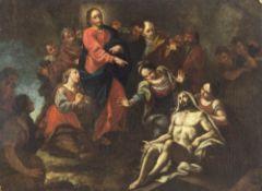 Süddeutsch, 17./18. Jh.Auferweckung des hl. Lazarus. Öl/Lw. 59 x 80 cm. Rest., doubl., besch.