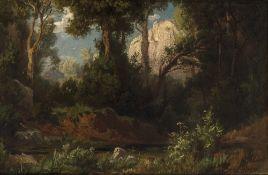 Weber, AugustWaldlandschaft. Öl/Lw. 26 x 39, 5 cm. Rest., sign.