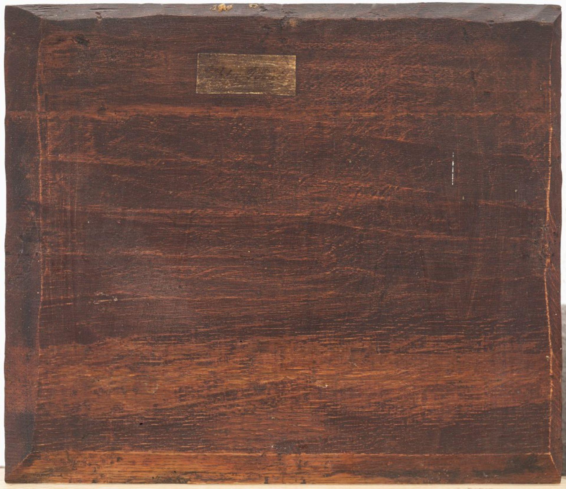 Flämisch, 17. Jh.Die Almosenspende vor dem Kloster. Öl/Holz. 33 x 38,5 cm. Riss, Rest. Unsign. - Bild 2 aus 2