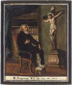 """Süddeutsch, 18. Jh.""""Hl Peregrinus"""". Öl/Lw. 75 x 62 cm. Rest., besch., dat. 1774.Southern German,"""