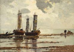 Arnold-Graboné, GeorgSegelschiffe am Ufer. Öl/Lw. 29,5 x 40 cm. Sign.
