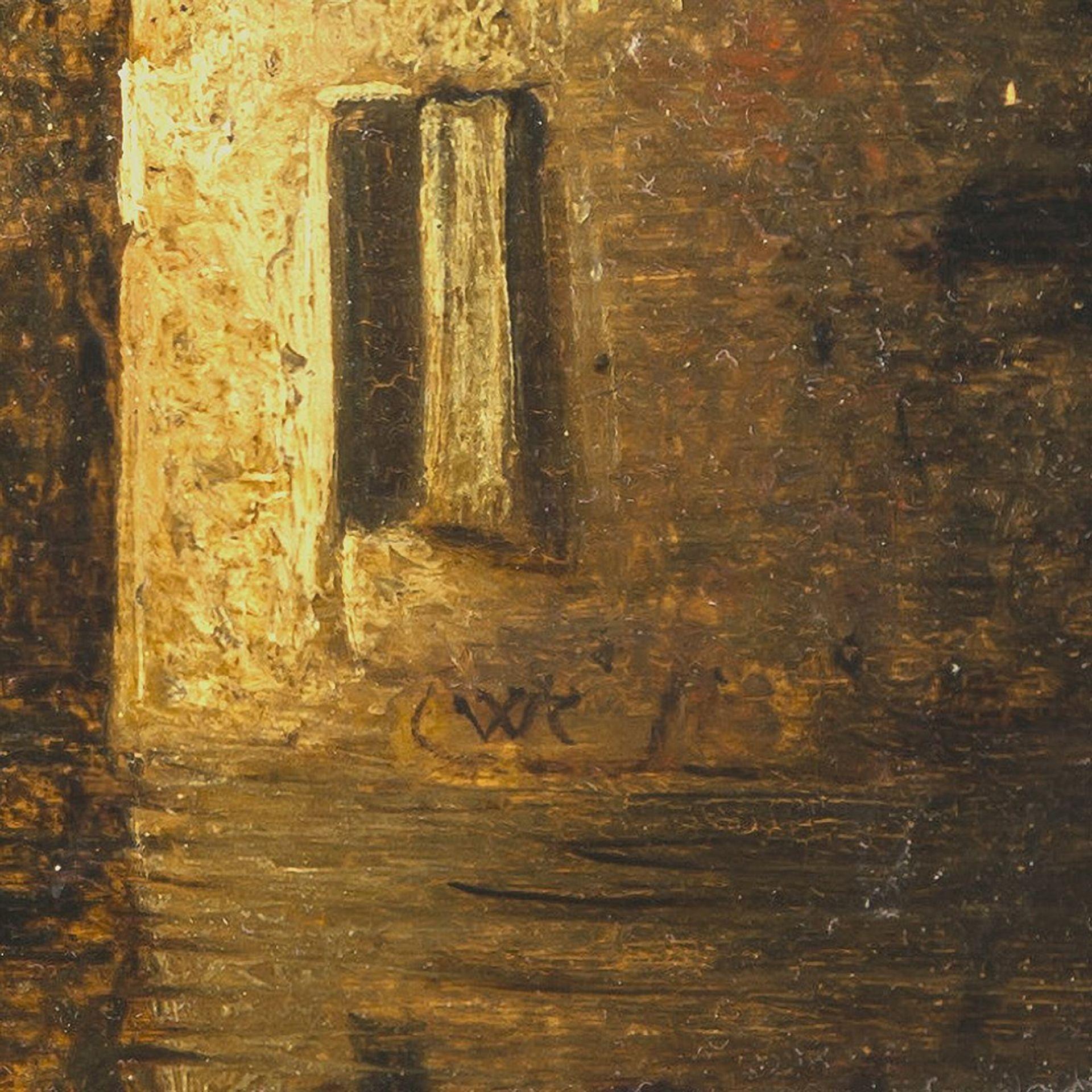 Knijff, Wouter, zugeschriebenOrtschaft am Fluß mit Ruder- und Segelbooten. Öl/Holz. 28 x 49 cm. - Bild 3 aus 3