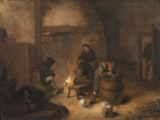 Molenaer, Jan MienseBäuerliche Genreszene vor dem Kamin, rechts vorne ein Bauer über ein Fass