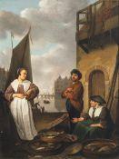 Sorgh, Hendrick MarteneszEinkaufende Magd bei einem Fischverkäuferpaar am Hafen. Öl/Lw. 50 x 37,5