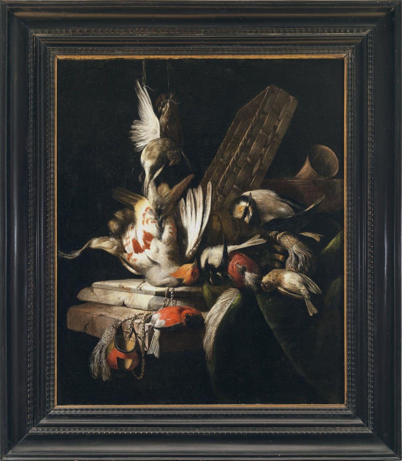Aelst, Willem vanJagdstillleben mit Vögeln und Falknerhäubchen. Öl/Lw. 67 x 55 cm. Rest., doubl.
