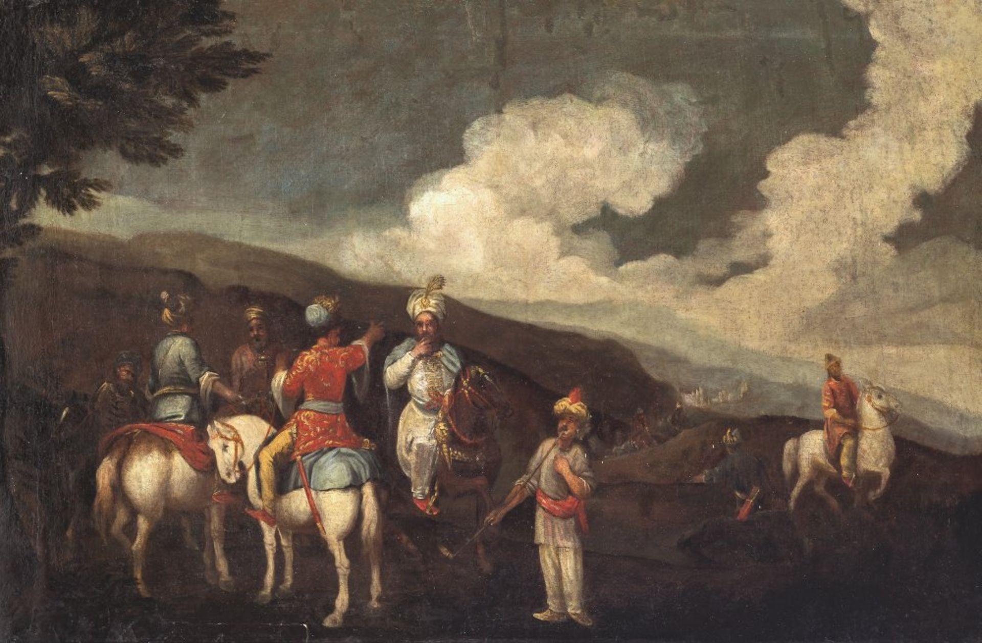 Österreich, 18. Jh.Osmanische Schlachtenszene. Öl/Lw. 65,5 x 99 cm. Doubl., rest. Unsign.Austria,