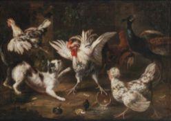 Flämisch, 17. Jh.Umkreis Pieter van Boeckel(?). Geflügelhof mit Katze. Öl/Lw. 63 x 86,5 cm. Rest.,