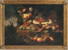 Italien, 18./19. Jh.Stillleben mit Früchten und Schalentieren. Öl/Lw. 84 x 120 cm. Doubl., rest.