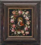 Niederlande, 17. Jh.Blumenkranz, im Zentrum Maria mit dem Jesuskind, Öl/Holz. 59 x 49 cm. Besch.,