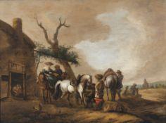 Wouwerman, PhilipsBeim Hufschmied. Öl/Holz. 36 x 49 cm. Rest. Monogr.Wouwerman, PhilipsAt the