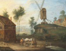 Stalbemt, Adriaen van, zugeschriebenOrtschaft mit Leiterwagen und Windmühle. Öl/Kupfer. 15 x 20