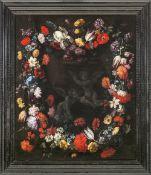 Italien, 17. Jh.Blumenstillleben mit Putten. Üppiges, kranzartiges Blumengebinde, im Mittelgrund